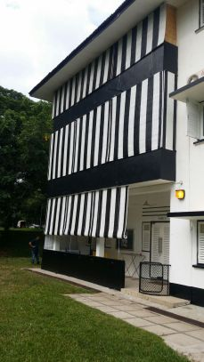 Black and White Bamboo Blinds for Colonial Housing