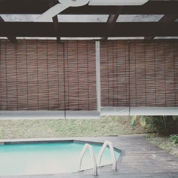 Natural Colour Bamboo Blinds With White Backing