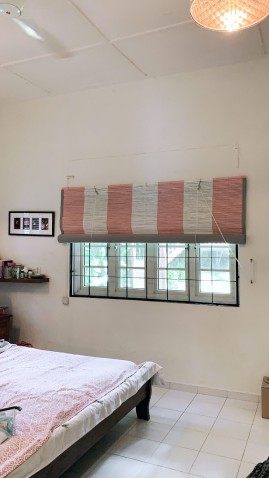 Pink and White Bamboo Blinds